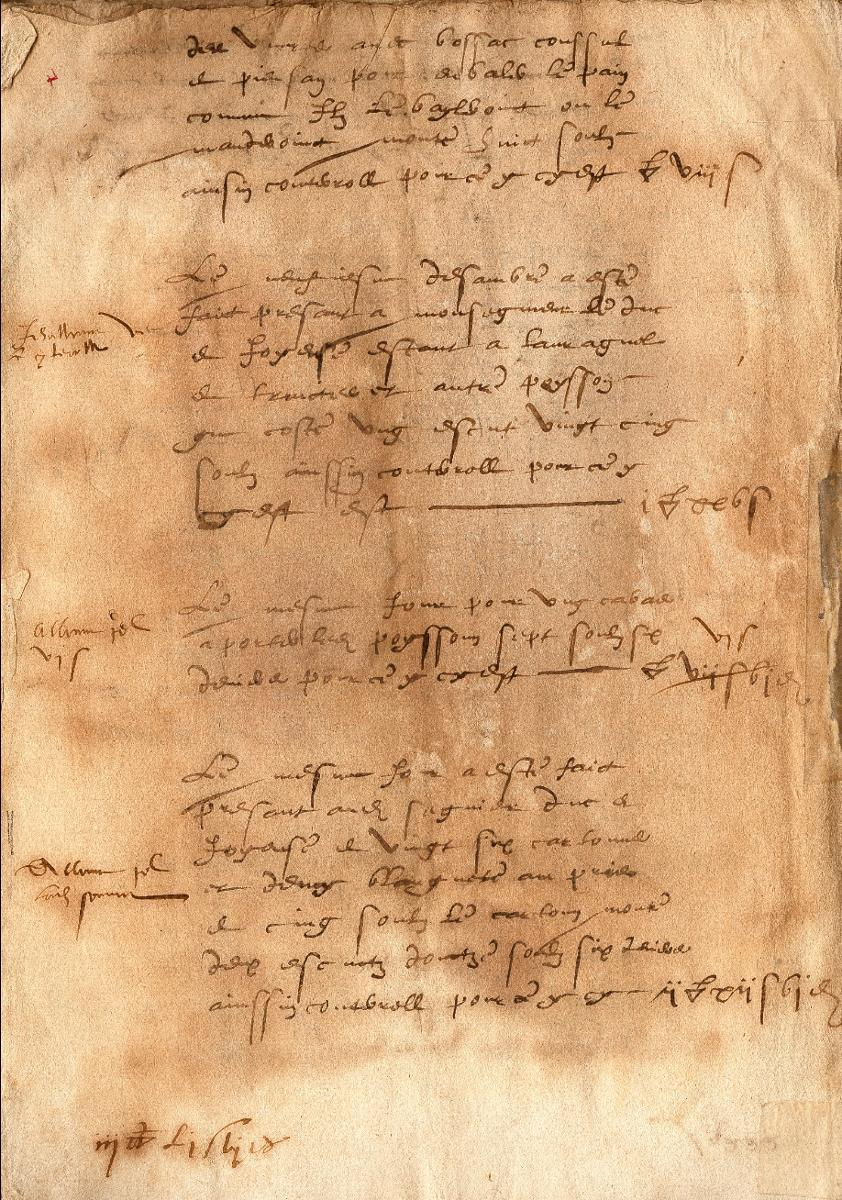 Document d'archive daté de 1585 attestant de l'authenticité de la Blanquette